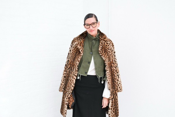 jenna-lyons-khaki-shirt-leopard-coat