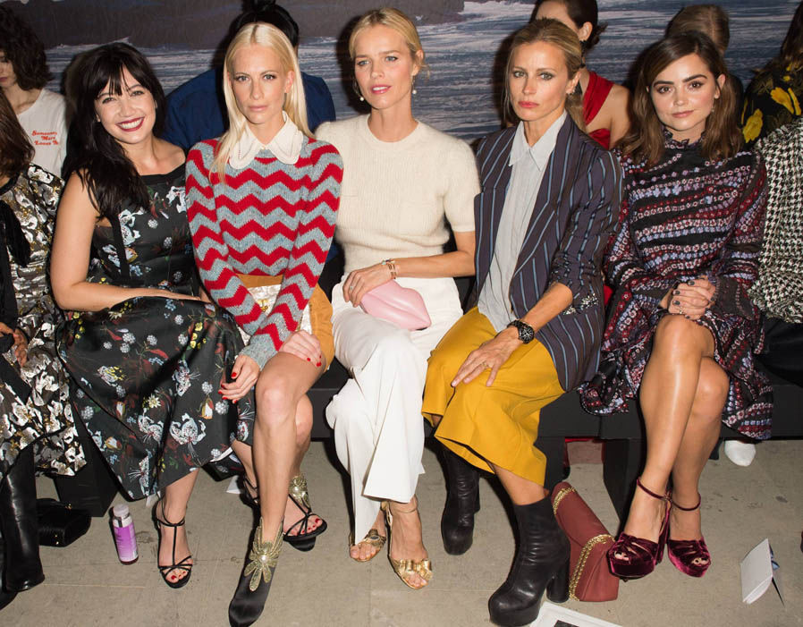 Daisy Lowe, Poppy Delevingne, Eva Herzigova, Laura Bailey and Jenna Coleman attend the Erdem show during London Week Spring 2017